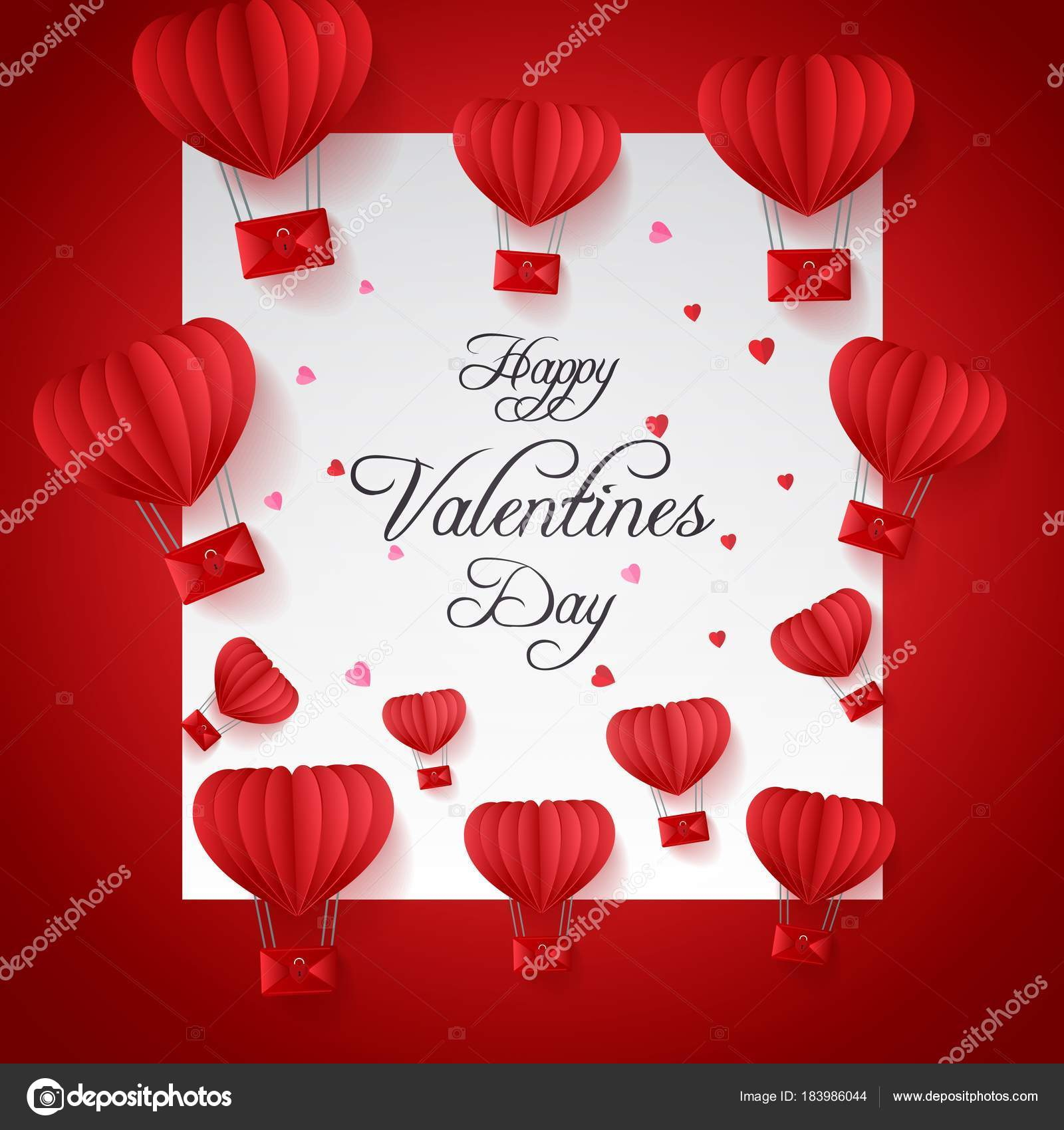 Happy valentines day greetings card paper cut red heart shape happy valentines day greetings card paper cut red heart shape stock vector m4hsunfo