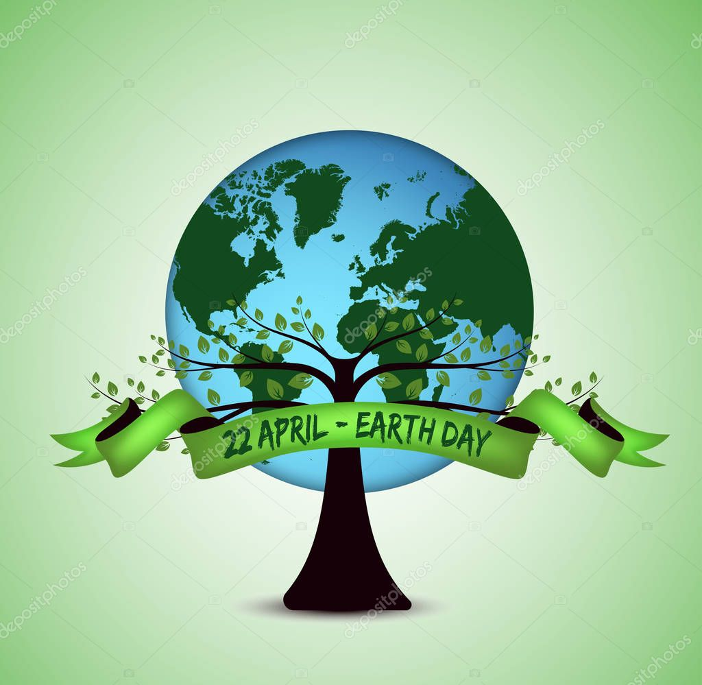 Earth Day. Earth planet with tree and green ribbon on white background