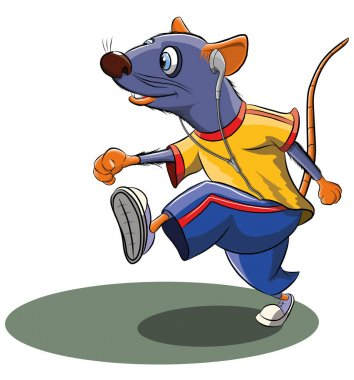Funny cartoon mouse doing sports, vector illustration