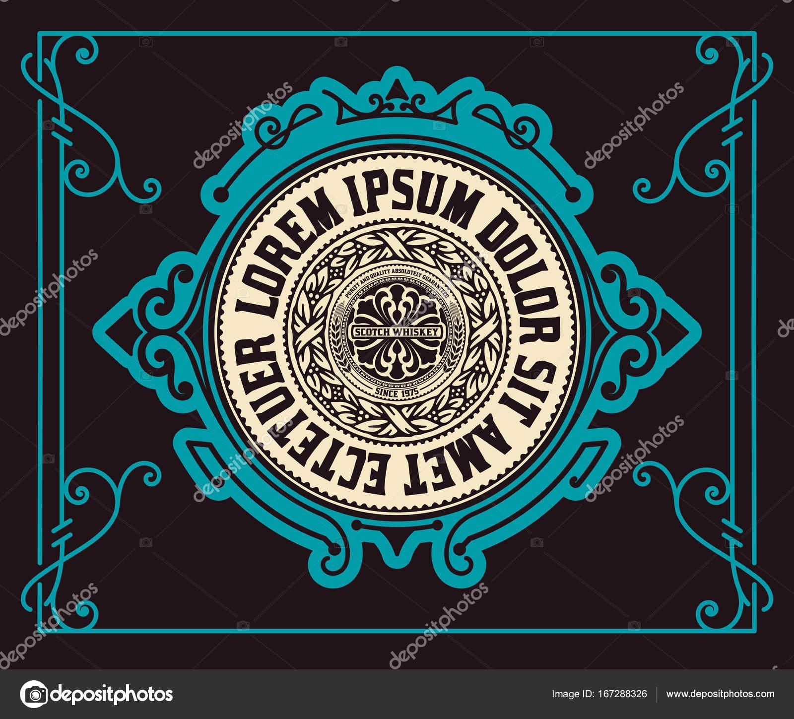 Vector de tipografía Vintage etiqueta occidental mano dibujado marco ...