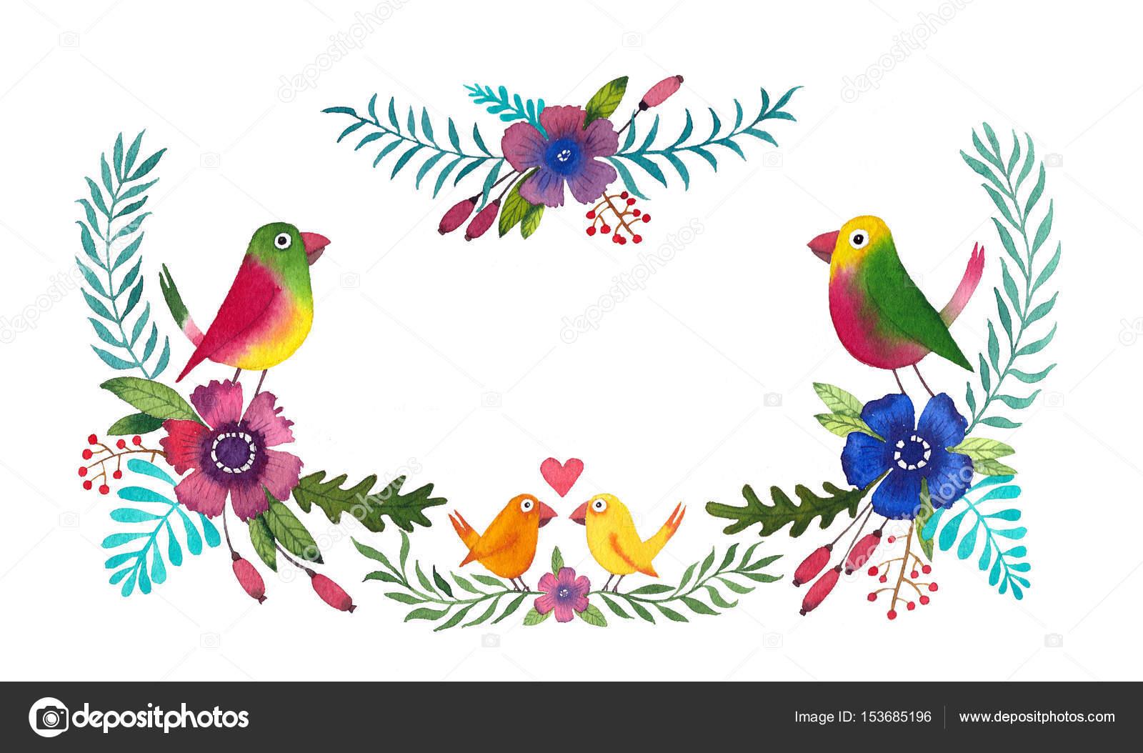 Rahmen mit bunten Blumen und niedlichen Vögel — Stockfoto ...