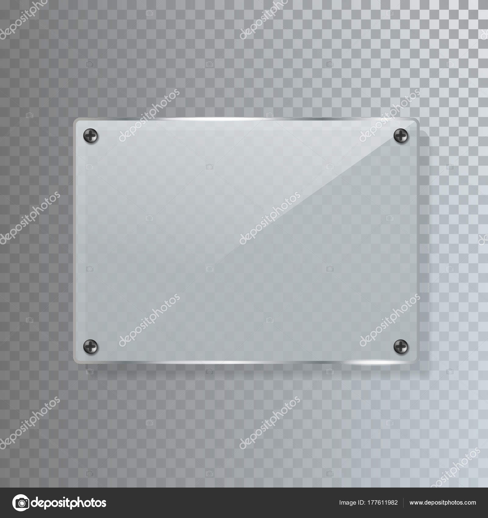 realistic transparent glass banner template vector illustration