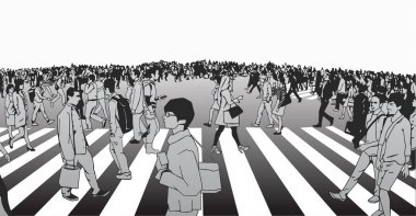 Illustration of mixed ethnic crowd crossing street from side view perpsective