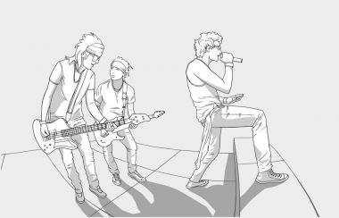 Illustration of band performing on stage