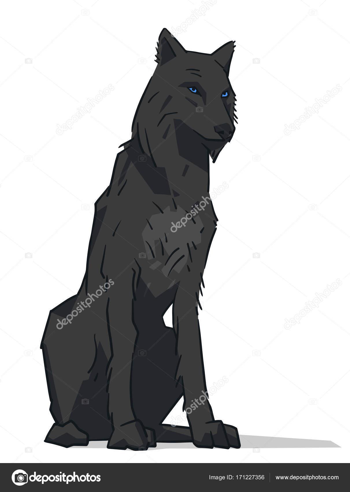 Isolierte Darstellung Der Schwarze Wolf Mit Blauen Augen Sitzen In