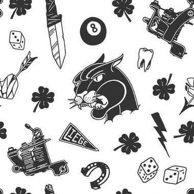 Seamless pattern with traditional tattoo designs: dice, clover, knife, lightning bolt, panther, tattoo machine, tooth, snake, horseshoe and arrow in black and white