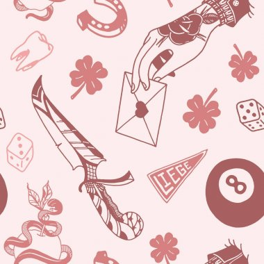 Seamless pattern with traditional tattoo designs: dice, clover, knife, lightning bolt, panther, tattoo machine, tooth, snake, horseshoe and arrow in vintage colors