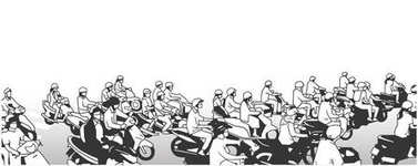 Illustration of busy street with motorbikes mopeds and motorcycles in perspective and black and white