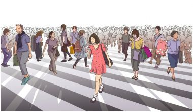 Illustration of woman in red dress crossing road with city crowd