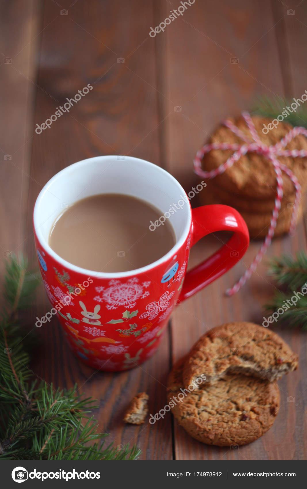 Red Christmas Mug Coffee Cookies Wooden Table Stock Photo C Olga Petrova Apostolova 174978912