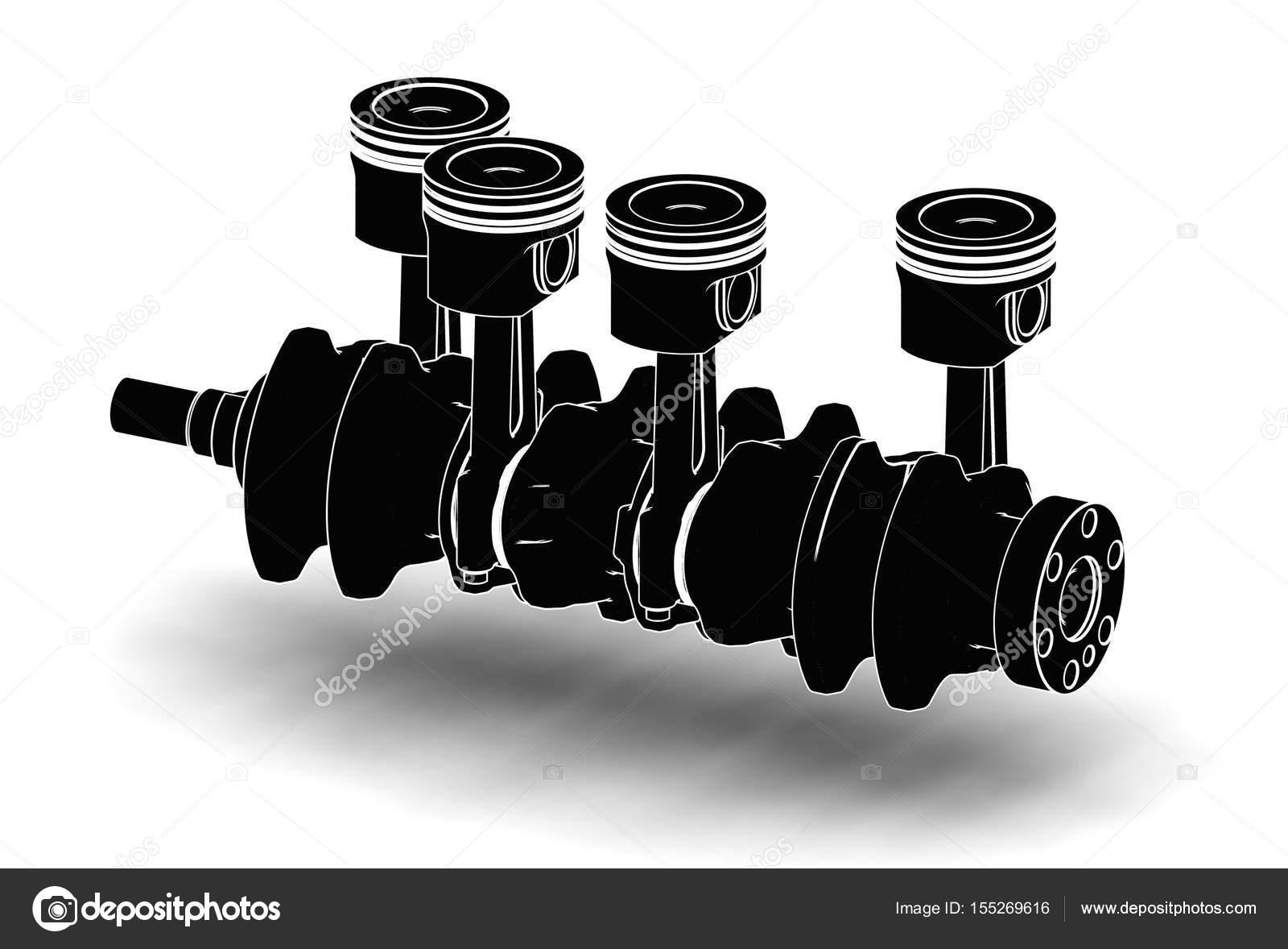 3d Obrazek Klikoveho Hridele S Pisty Motoru Stock Fotografie