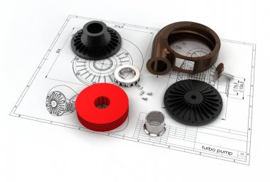 3D illustration of turbo pump