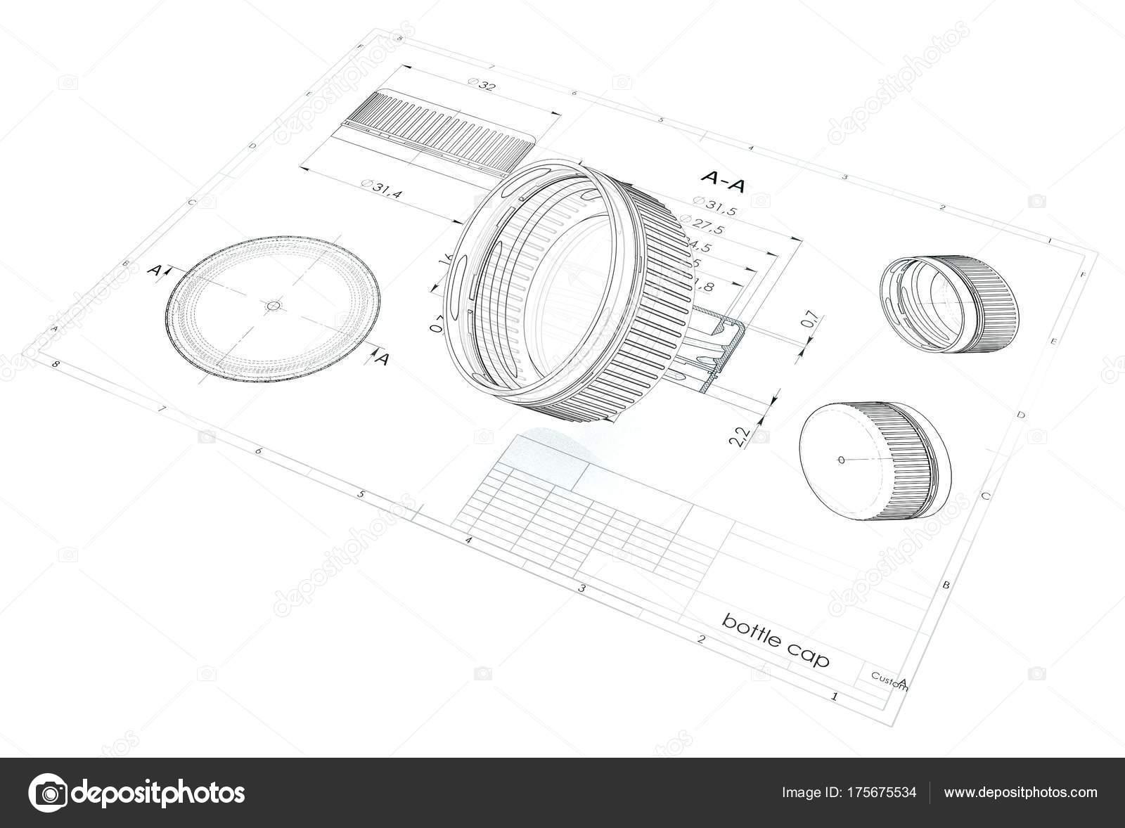 Ilustración Tapa Botella Plástico Sobre Dibujo Ingeniería Foto De
