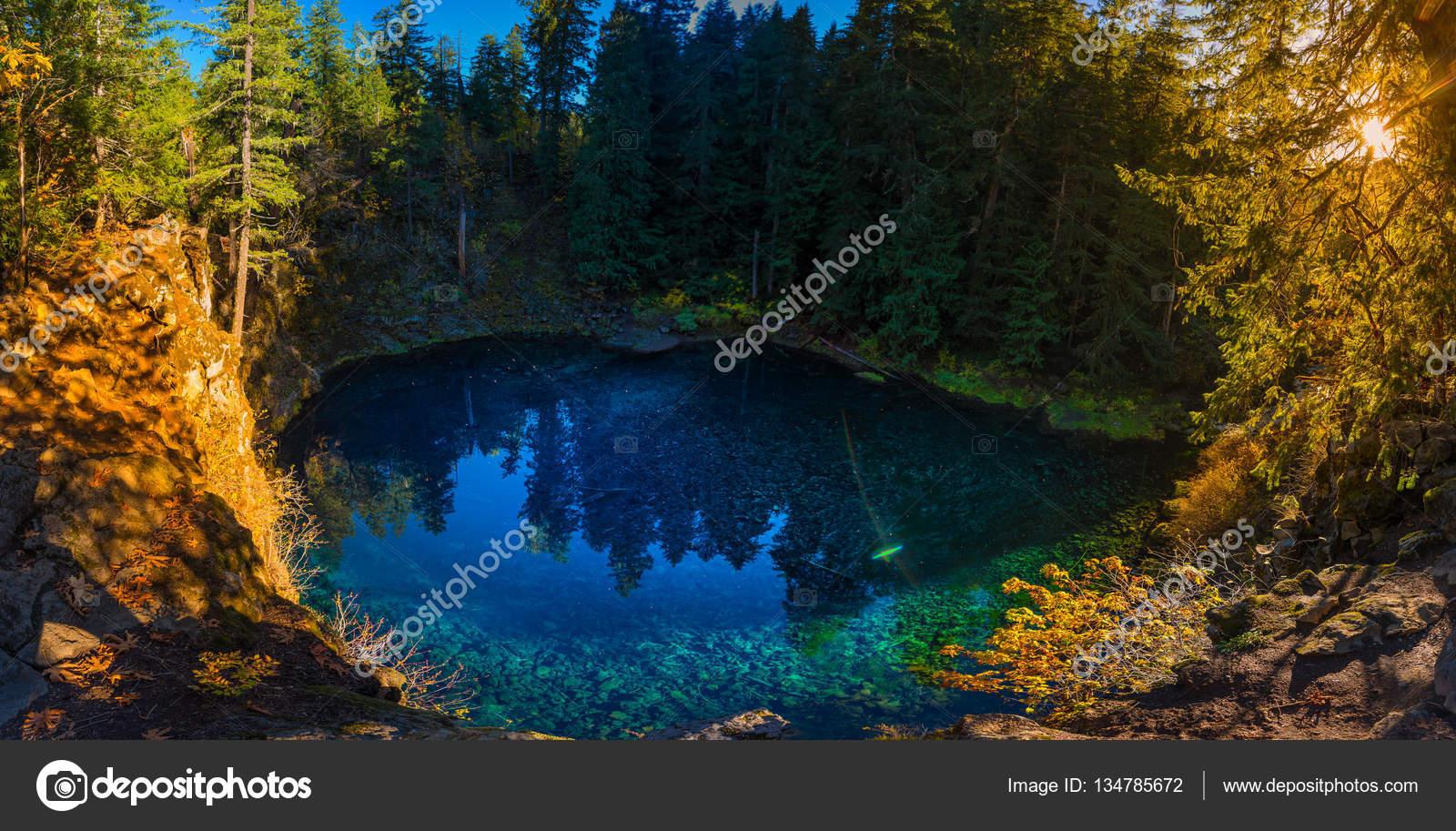Tamolitch Blue Pool Oregon Sunset Panorama U2014 Stock Photo