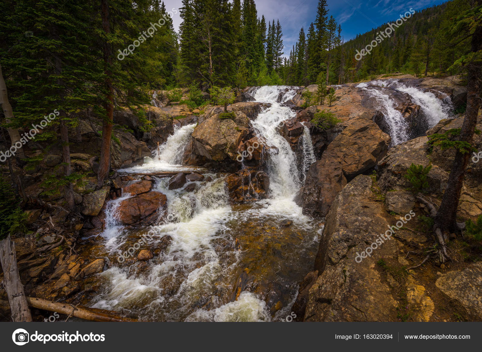 jasper creek falls colorado stock photo