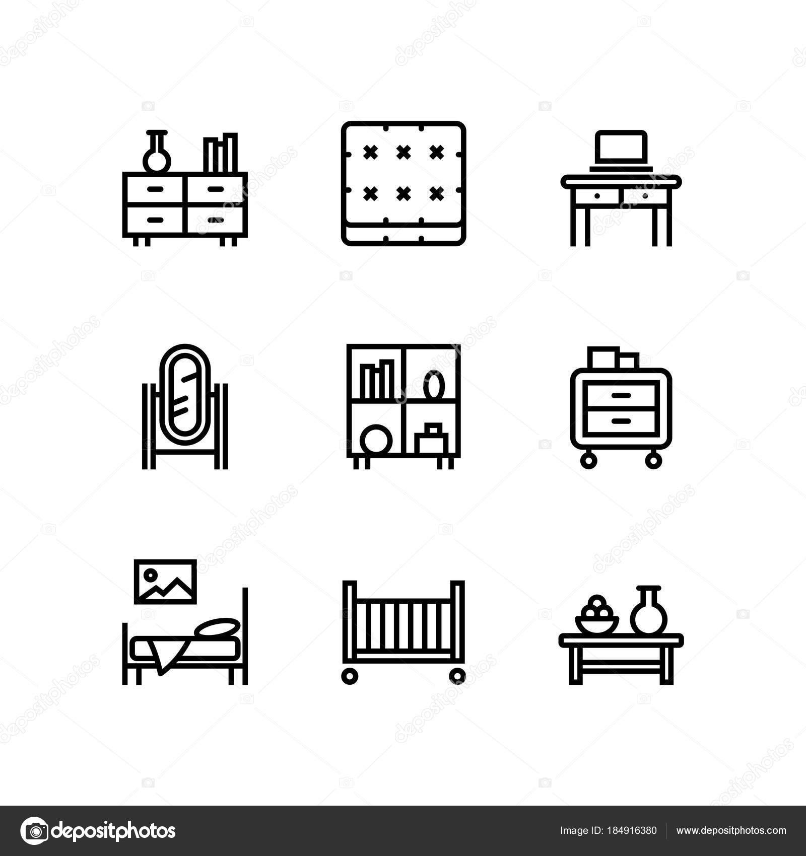 Möbel Einrichtung Einfache Innere Vektor Icons Für Web Und Mobile ...