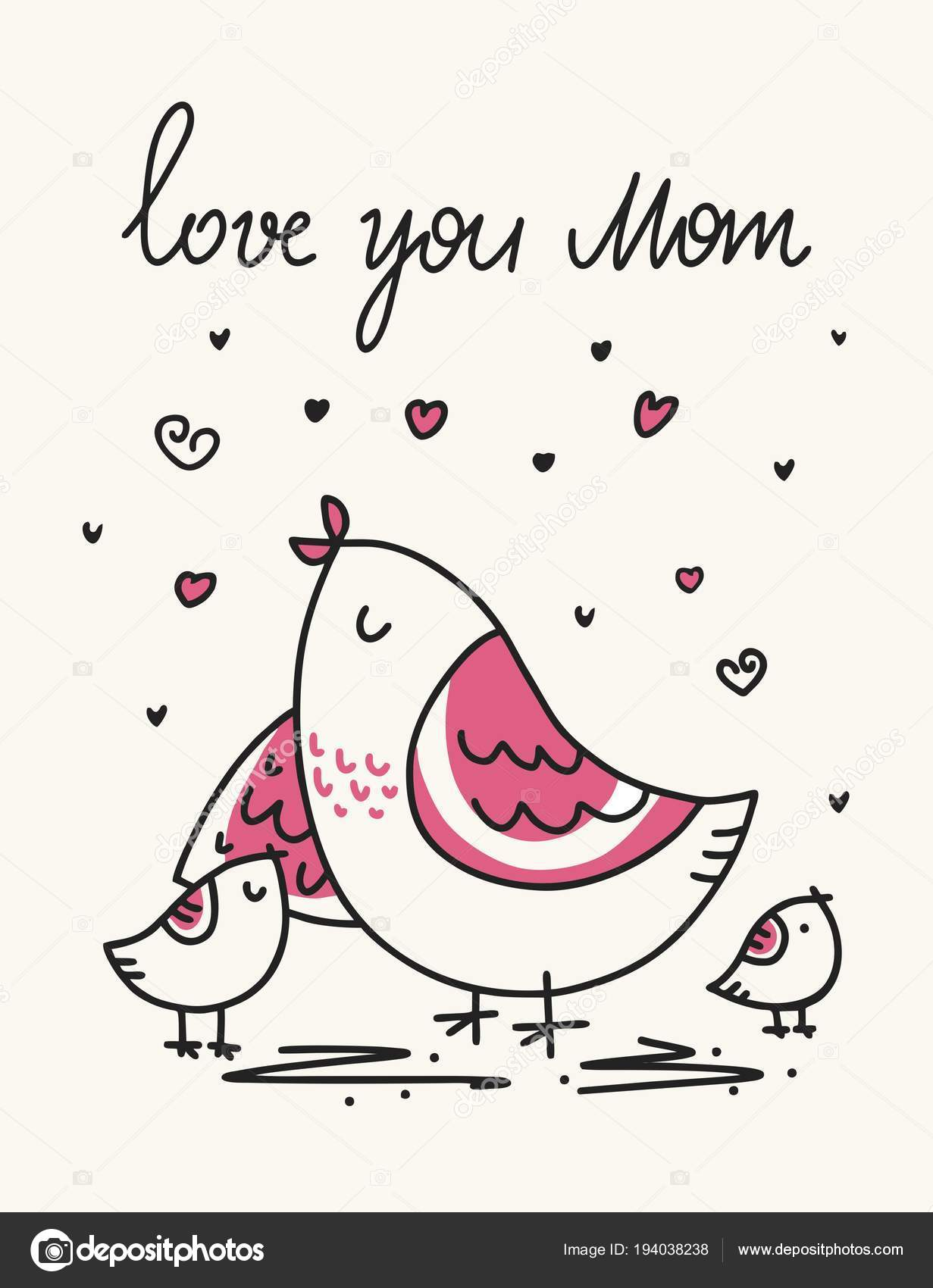 Día Madre Tarjeta Vector Con Pájaro Sus Lindos Hijos Dibujos