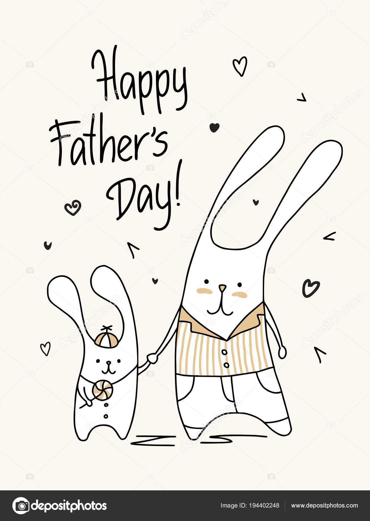 Tarjeta Del Día Padre Feliz Papi Lindo Hijo Ilustración Del — Vector ...