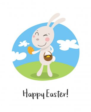 Happy easter greeting card with cartoon funny smiling rabbit and eggs. Flat vector holiday illustration
