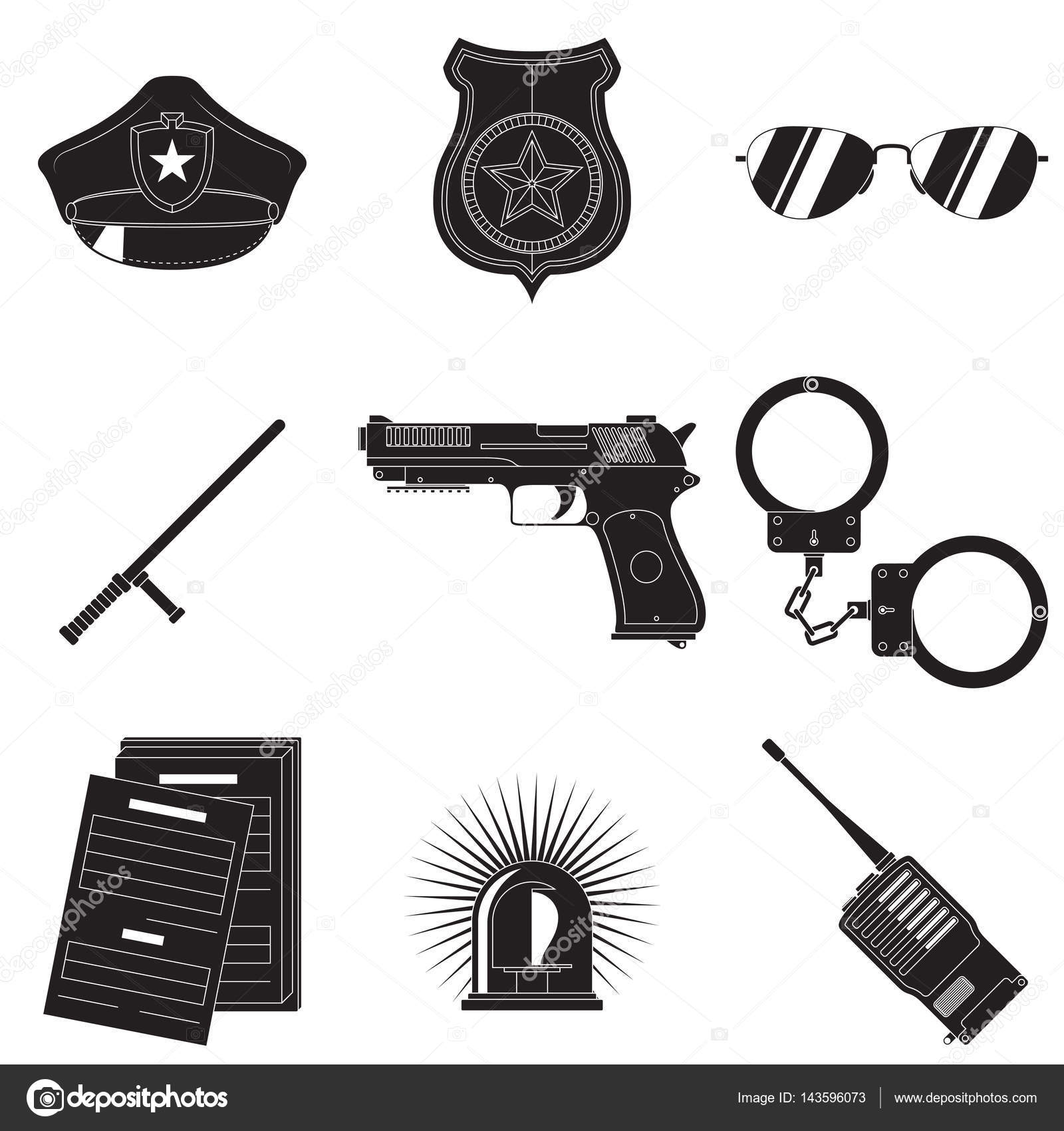 Police Symbols Set Stock Vector Marcing1 143596073