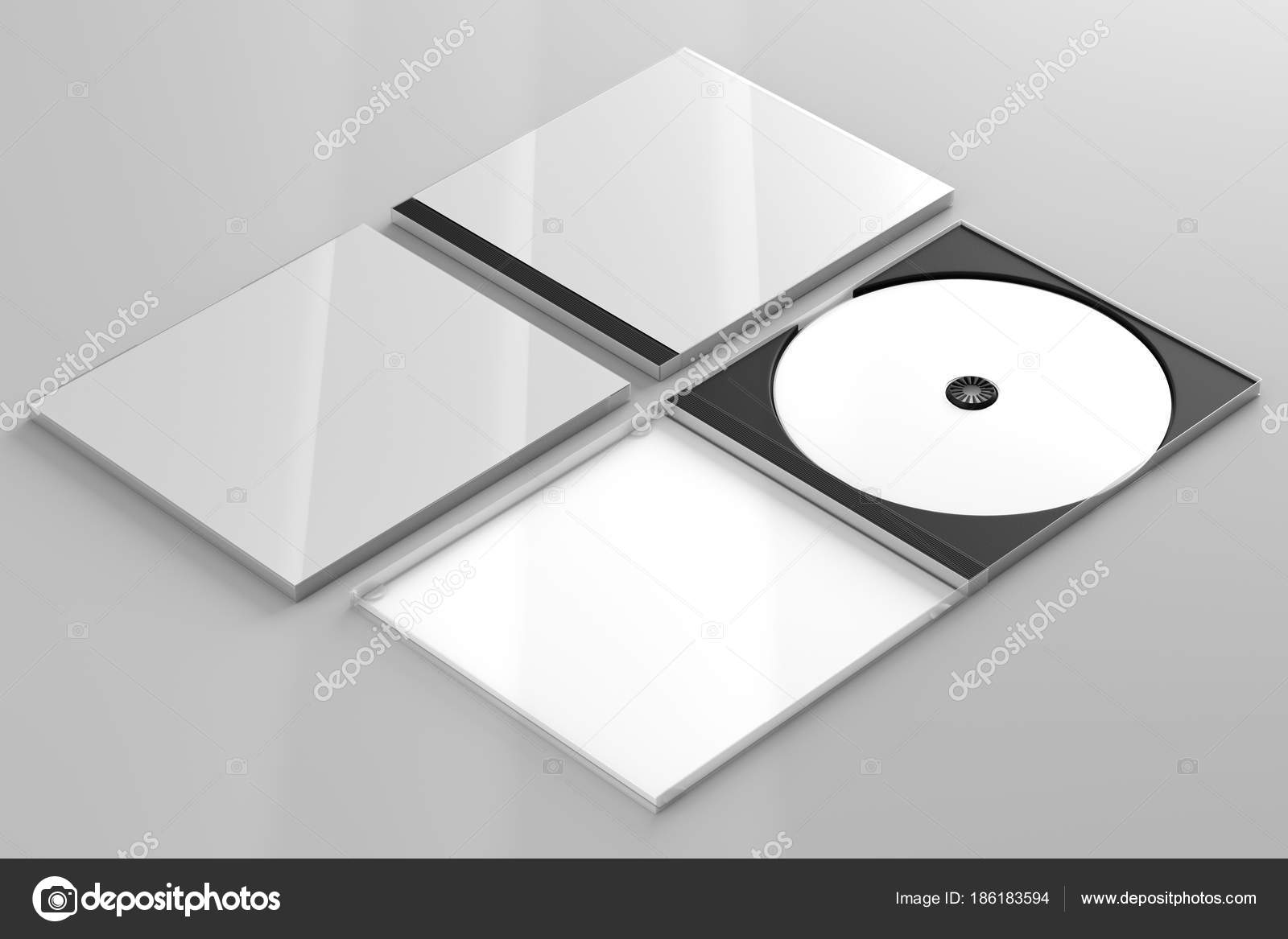 Cd Dvd Disc Plastic Box Mockup Perspective View Stock Photo