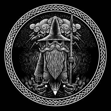 Viking God Odin with spear ravens