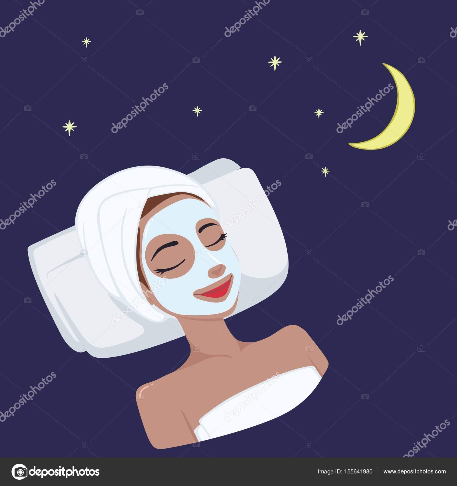 美しい女性の顔イラスト ベクター デザイン ミルク自然夜マスク