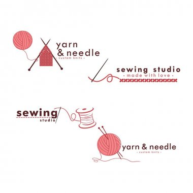 Tailor Sewing Vintage Logo Set, Needle and Yarn Logo Set, Fashion Retro Simple Logo, Vector Design Template