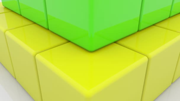 Pyramid of toy cubes in various colors