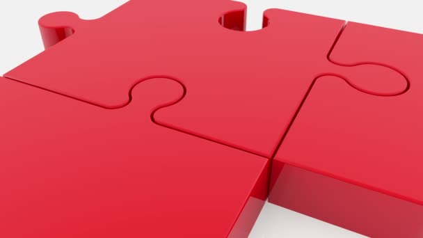 Puzzle pieces in red