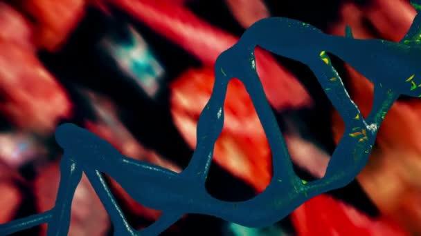 Spirála DNA v modré a žluté barvy