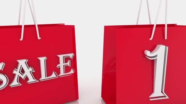Nákupní tašky s nápisem prodej a 10 procent