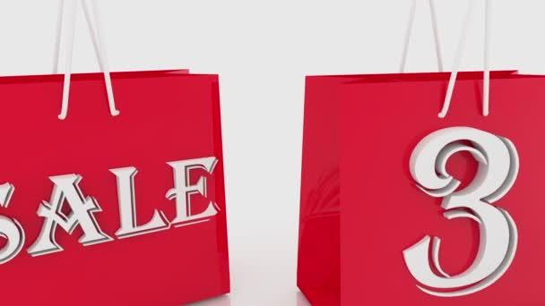 Nákupní tašky s nápisem prodej a 30 procent