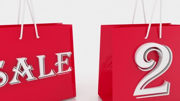 Nákupní tašky s nápisem prodej a 20 procent