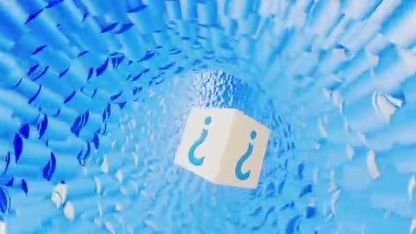 Létající krychle s otazník v modrém tunelu