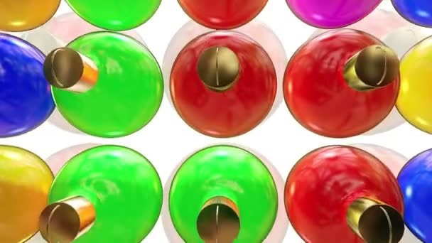 Christmas tree decorations in various colors