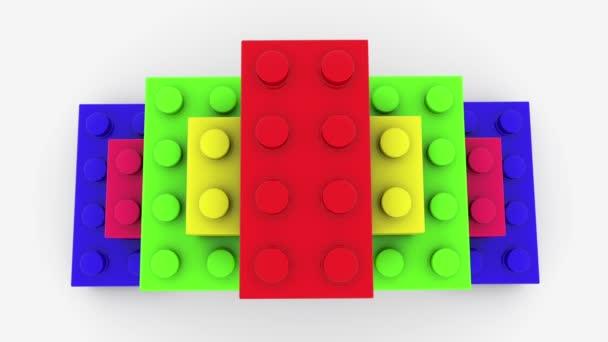 Pyramid of toy bricks close up