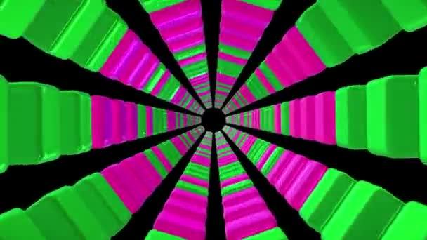 Tunelové propojení datových krychlí ve fialové a zelené barvy na černém pozadí