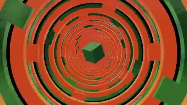 Abstraktní tunel v oranžové a zelené barvy s náměstí