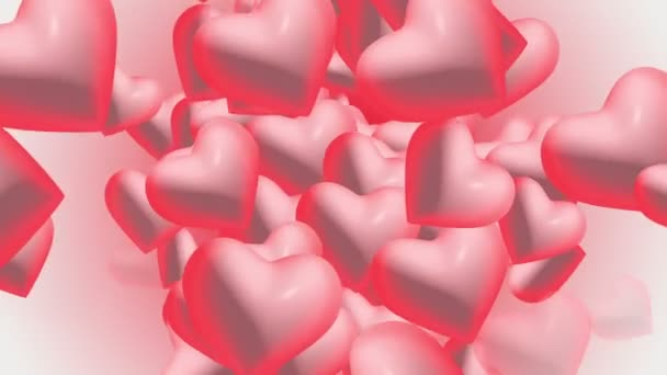 Hearts in red and pink colors