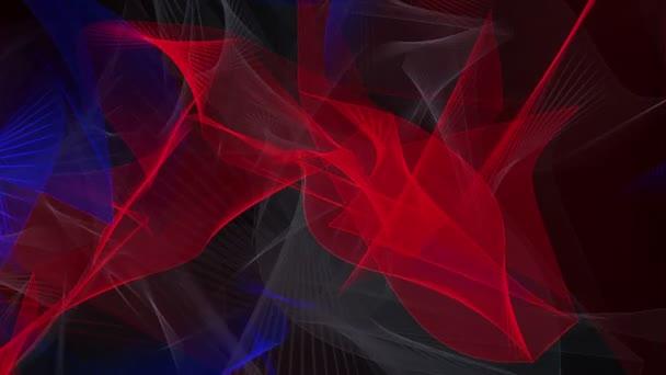 Abstraktní vlny v modré, šedé a červené na černém pozadí