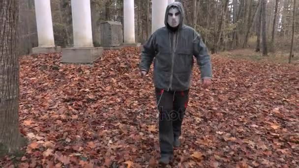 Man in scary Halloween mask and machete walking on camera