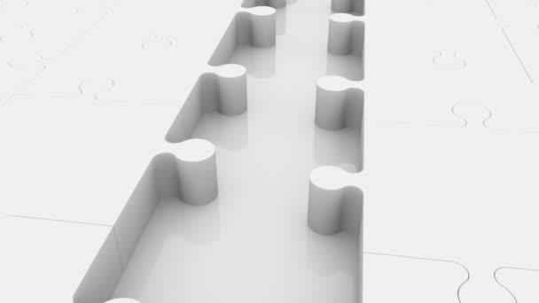 Nekompletní puzzle koncept s prázdné řádky v barvách červené a bílé