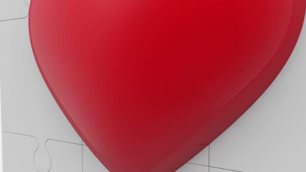 Rotes Herzsymbol auf Puzzle-Oberfläche