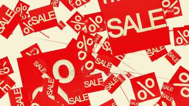 Prodej a procentech v červené barvě