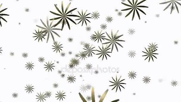Náhodně rotující abstraktní květy na bílém pozadí