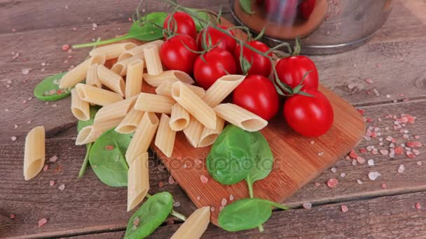 Italian pasta and tomatoes close up