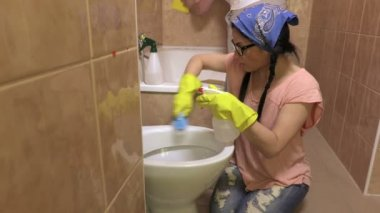 Obsessive Man Cleaning Bathroom Stock Video DerinMedia - Bathroom cleaner person
