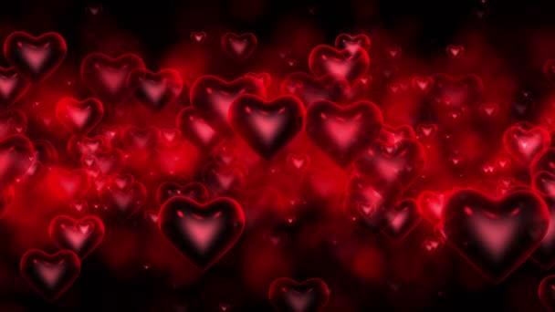 Mozgó szívek piros háttér