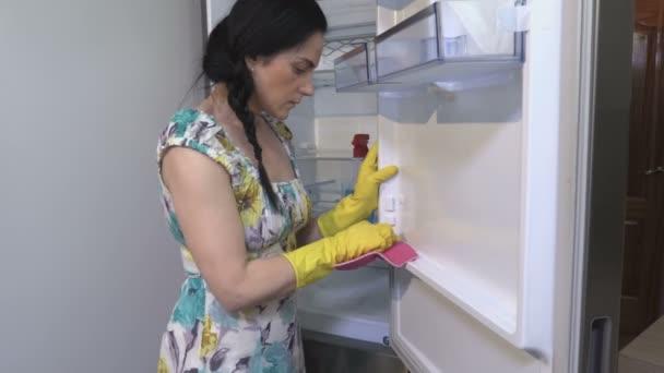 Žena Čištění Lednice Dveře Se sprejem prací prášek